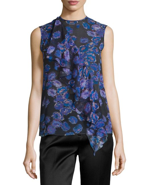 Jason Wu | Red Sleeveless Ruffled Floral-print Top | Lyst