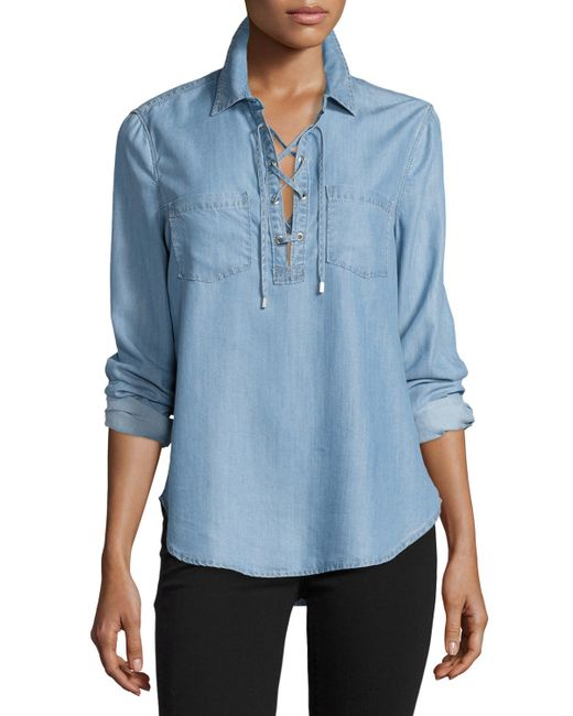 Paige billie lace up chambray shirt in blue lyst for Blue chambray shirt women s