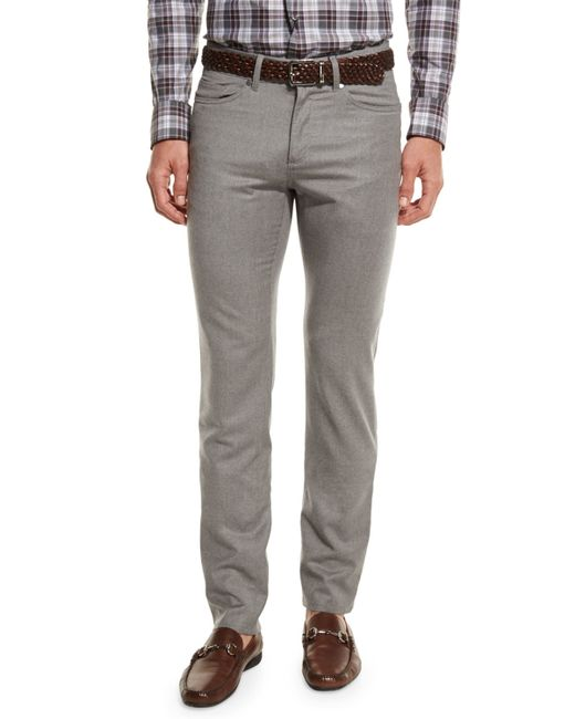 Peter Millar | Gray Wintertime Flannel Five-pocket Pants for Men | Lyst