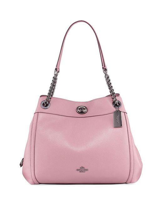 COACH | Pink Turnlock Edie Leather Shoulder Bag | Lyst