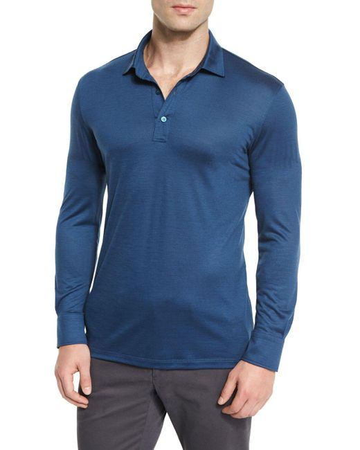 Ermenegildo zegna high performance wool long sleeve polo for Long sleeve wool polo shirts