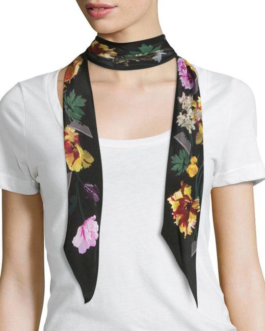 Rockins | White Floral Super Skinny Silk Scarf | Lyst