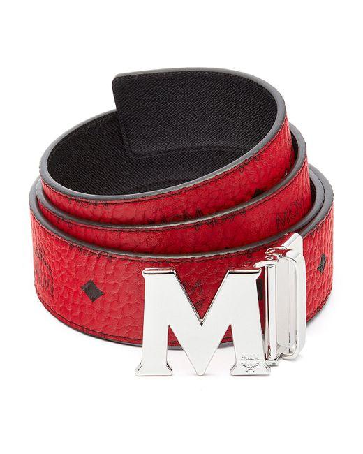 mcm claus reversible visetos  saffiano belt in red for men