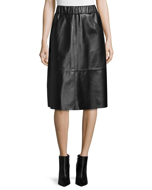 Bagatelle | Black Leather A-line Midi Skirt | Lyst