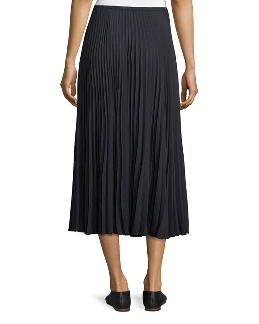 vince pleated a line midi skirt in blue lyst