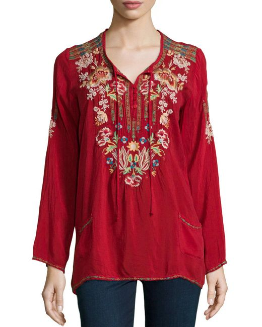 Johnny Was   Carnation Long-sleeve Embroidered Blouse   Lyst