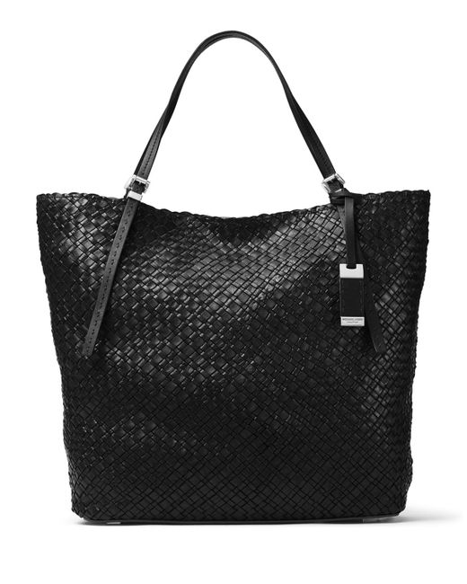 Basket Weaving Supplies Nyc : Michael kors hutton large woven leather tote bag in black