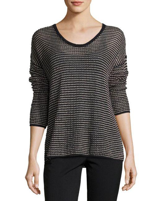 Eileen Fisher | Black Crisp Organic Cotton-blend Mesh Top | Lyst
