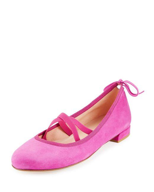 Stuart Weitzman | Pink Bolshoi Suede Ballerina Flat | Lyst