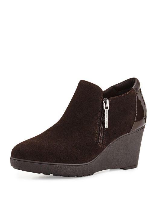 donald j pliner nakita suede wedge boots in brown lyst