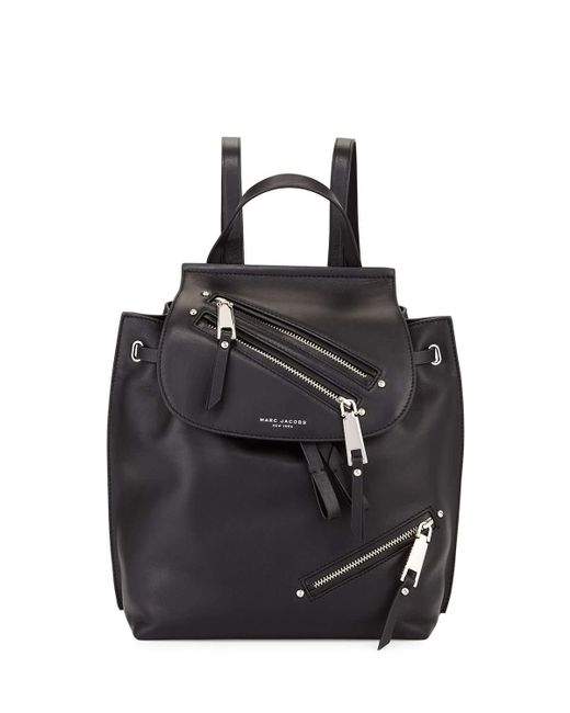 Marc Jacobs | Black Zip Leather Flap Backpack | Lyst
