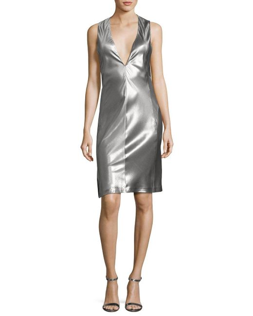 Narciso Rodriguez | Metallic Sleeveless Low-armhole Shift Dress | Lyst