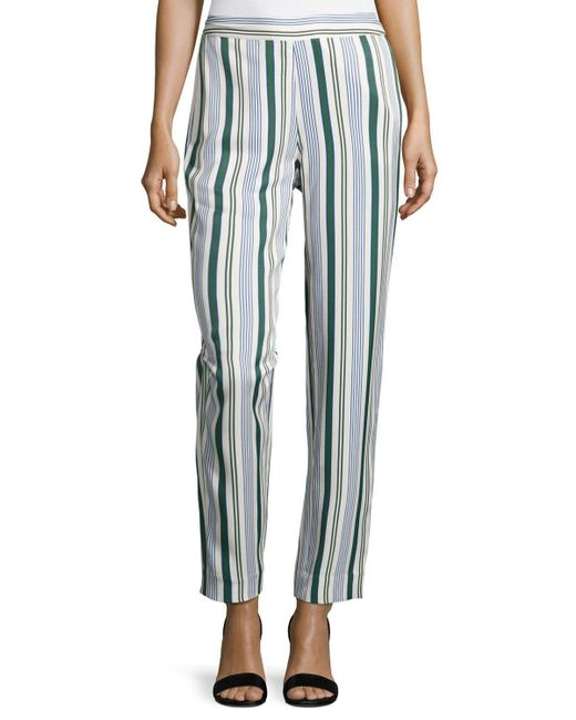 Tory Burch | Blue Villa Striped Straight-leg Pants | Lyst