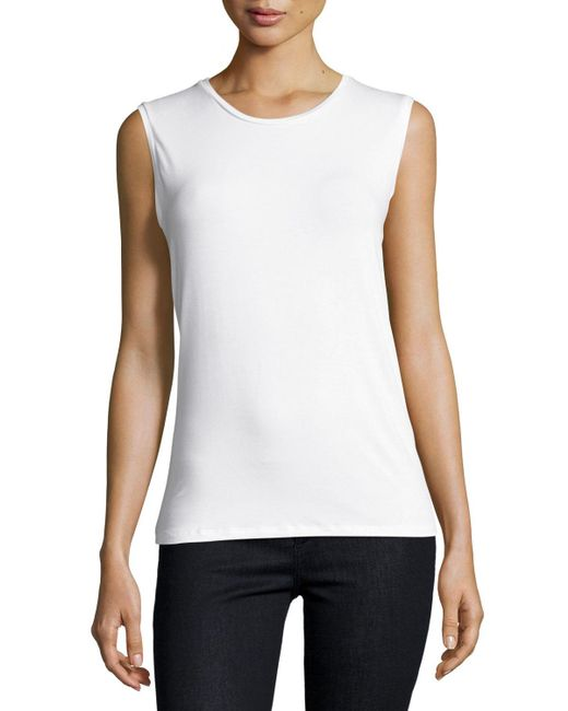 Neiman Marcus | White Soft Touch Crewneck Tank Top | Lyst