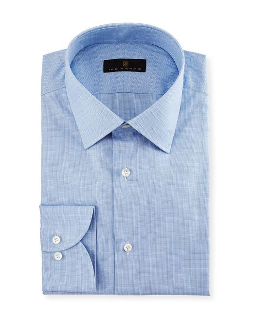 Ike Behar   Blue Gold Label Micro-glen Plaid Dress Shirt for Men   Lyst