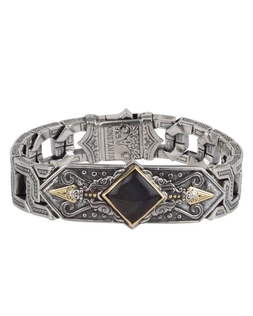 Konstantino - Black Men's Sterling Silver & 18k Gold Bracelet With Hawk's Eye for Men - Lyst