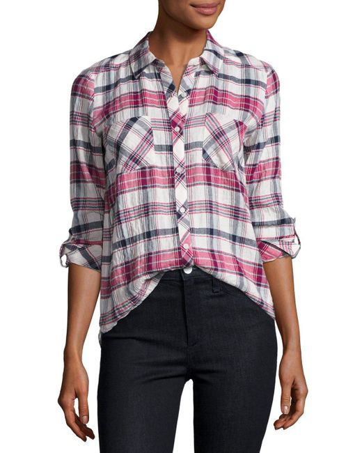 Soft joie lilya plaid button front shirt in multicolor lyst for Soft joie plaid shirt