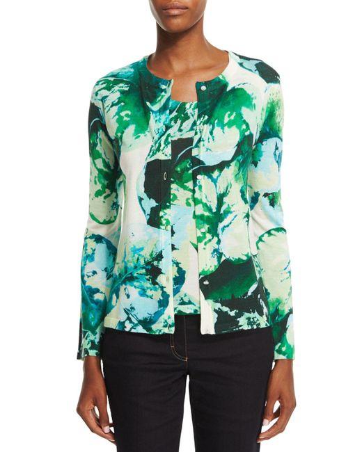 ESCADA   Green Long-sleeve Leaf-print Cardigan   Lyst