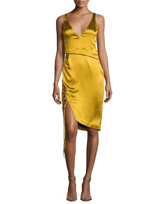 Galvan London Isabella Sleeveless Satin V Neck Dress With