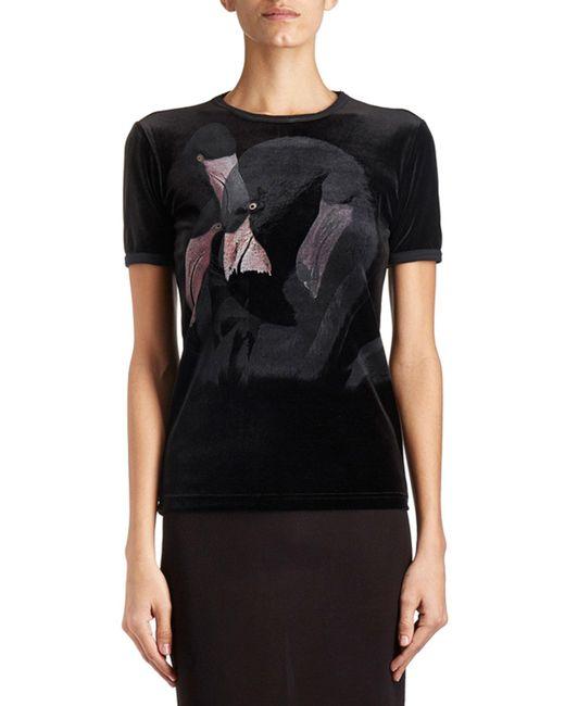 Givenchy | Black Flamingo-print Velvet Tee | Lyst