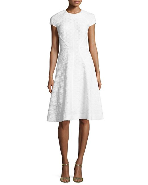 Lela Rose | White Blair Check-jacquard Cap-sleeve Dress | Lyst