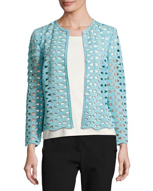 ESCADA   Black Macramé Lace Long-sleeve Jacket   Lyst