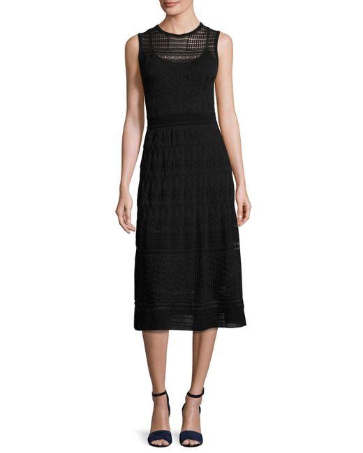 M Missoni | Black Sleeveless Rib-stitched Midi Dress | Lyst