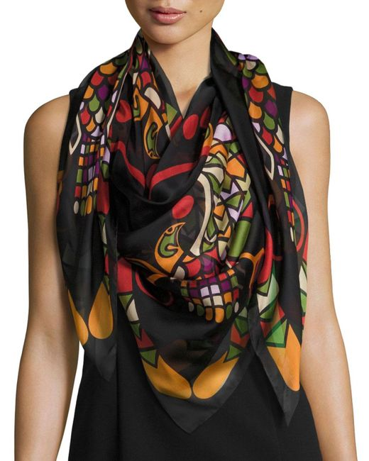 Givenchy | Multicolor Egyptian Wings Square Silk Chiffon Shawl | Lyst