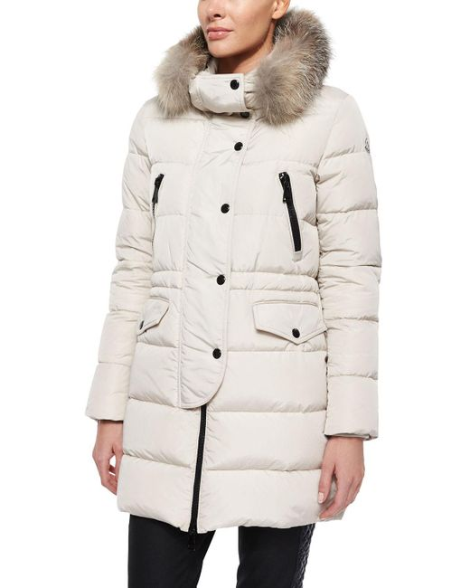 Moncler | Natural Fragonette Quilted Puffer Coat W/detachable Fur Hood | Lyst