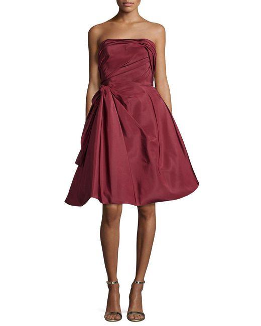 Oscar de la Renta   Red Strapless Ruched Cocktail Dress   Lyst