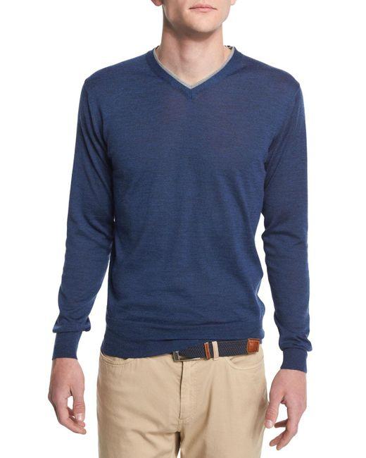 Peter Millar | Purple Collection Merino-silk V-neck Sweater for Men | Lyst