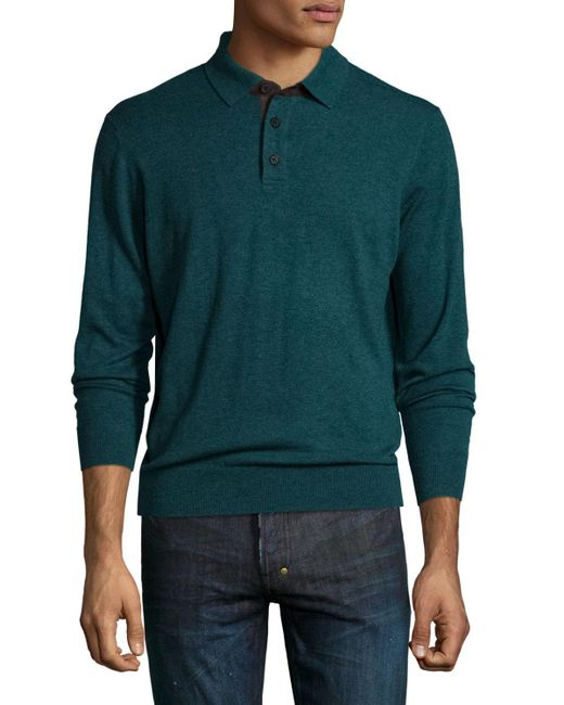 Neiman Marcus | Green Cashmere Long-sleeve Polo Sweater for Men | Lyst