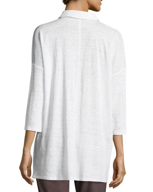 Eileen Fisher   White 3/4-sleeve Organic Linen Jersey Tunic   Lyst