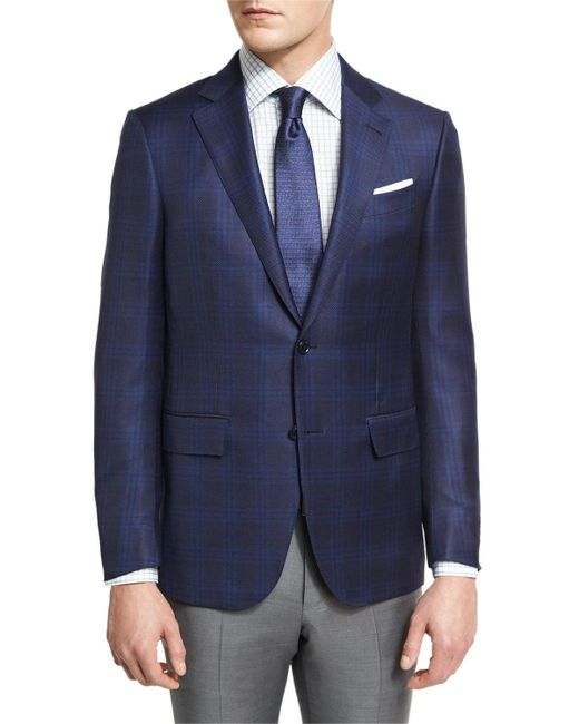 Ermenegildo Zegna | Blue Tonal Plaid Two-button Sport Coat for Men | Lyst