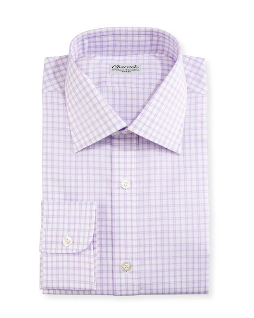 Charvet | Purple Check Dress Shirt for Men | Lyst