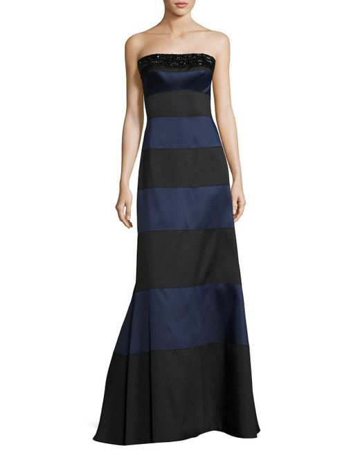 Helen Morley | Blue Embellished Striped Strapless Gown | Lyst