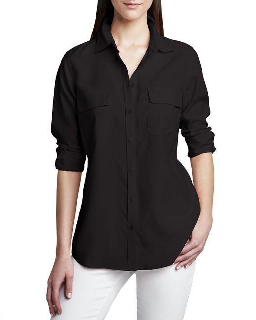 Go> By Go Silk | Black Safari Long-sleeve Silk Shirt | Lyst