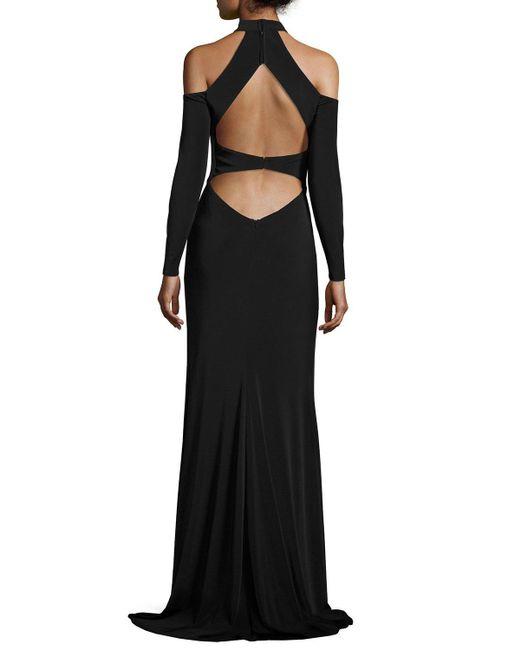 La Femme   Black Long-sleeve Jersey Cold-shoulder Gown   Lyst