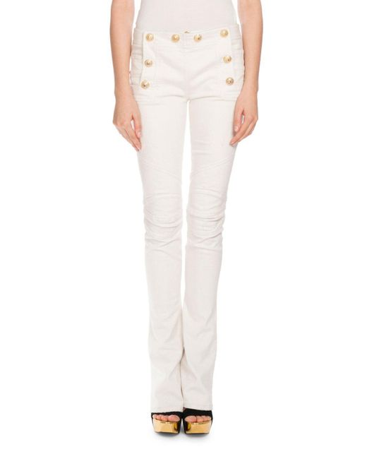 Balmain | White Sailor-button Boot-cut Jeans | Lyst