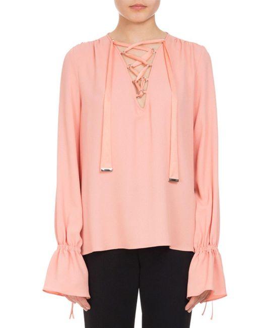 Altuzarra   Pink Capulet Lace-up Ruffle-cuff Top   Lyst