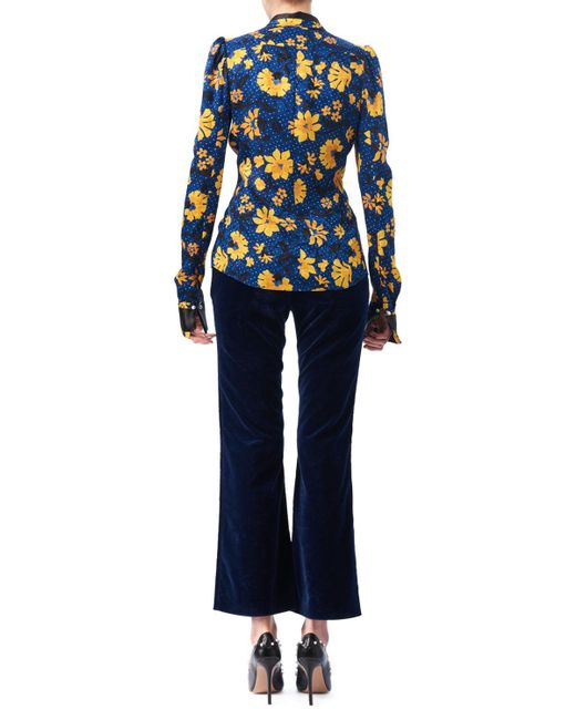 Altuzarra   Blue Marlowe Floral Dot Satin-trim Shirt   Lyst
