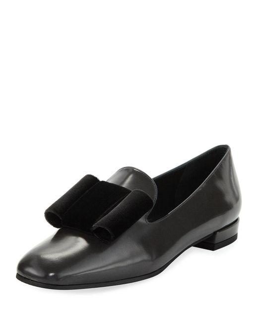 Stuart Weitzman | Black Limbow Velvet-bow Loafer Flat | Lyst