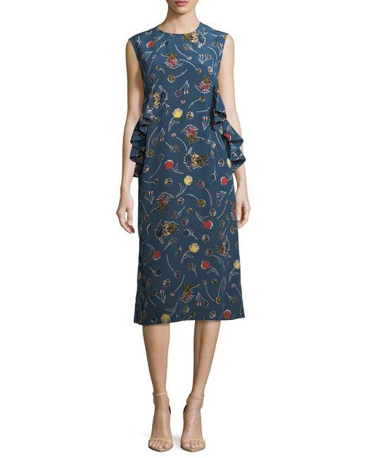 Marni | Yellow Floral-print Silk Midi Dress | Lyst