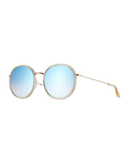 Barton Perreira | Blue Joplin 2 Round Mirrored Metal-rim Sunglasses | Lyst