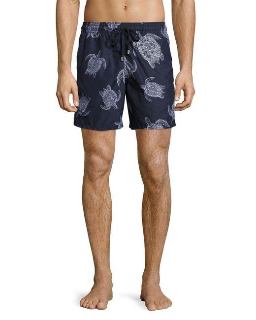 Vilebrequin   Blue Moorea Sharkskin Turtle Swim Trunks for Men   Lyst