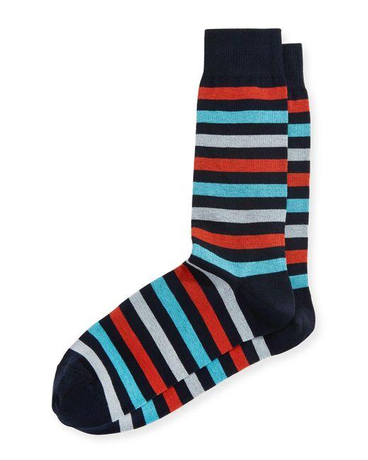 Neiman Marcus   Blue Multicolor-stripe Mercerized Socks for Men   Lyst