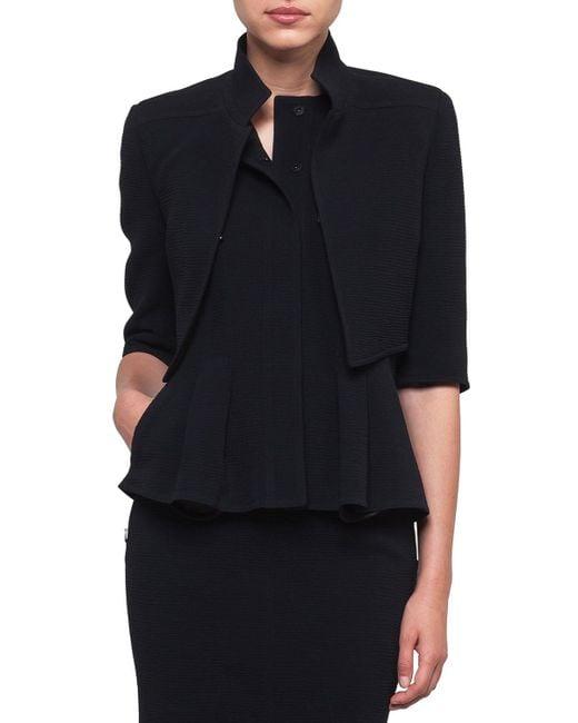 Akris - Black Mock-neck Wool-stretch Short Jacket - Lyst