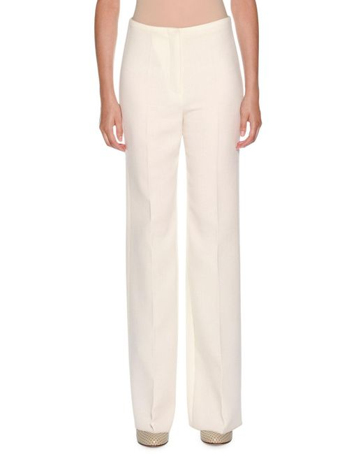 0728acc881999 Lyst - Agnona Boot-cut Flat-fly Lined Wool Pants in White