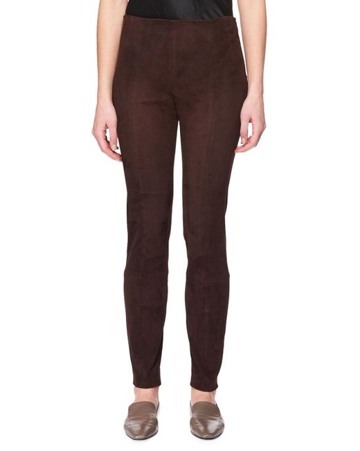 The Row - Brown Cosso Skinny-leg Suede Pants - Lyst
