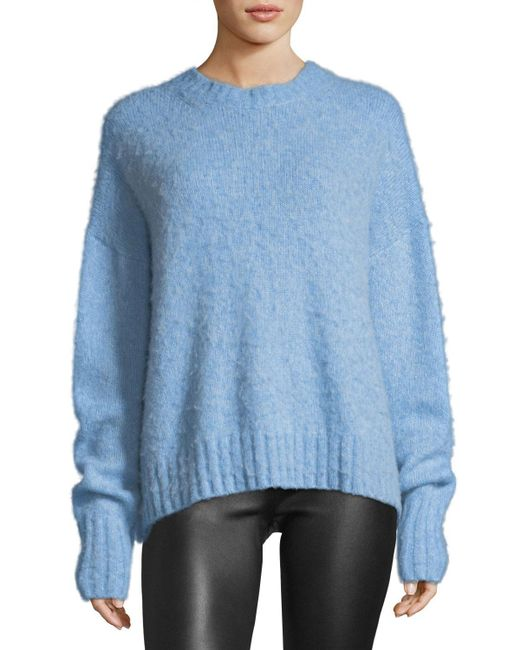 Helmut Lang | Blue Crewneck Brushed Wool Pullover Sweater | Lyst